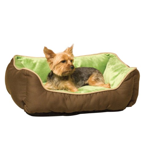 K&H Pet Products Self-Warming Lounge Sleeper Pet Bed Small Mocha/Green 16″ x 20″
