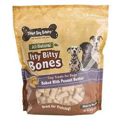 Three Dog Bakery Itty Bitty Bones Baked Dog Treats, Peanut Butter, 32 oz