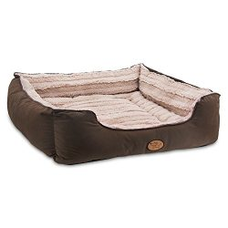 Best Pet Supplies Premium Plush Suede Bed for Dogs & Cats – Dark Brown, XL (30 x 28 x 8.5 inches)