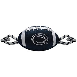 Collegiate PENN STATE NITTANY LIONS Nylon Football Dog Toy with inner SQUEAKER & Pull Ropes PET SPORTS TOY