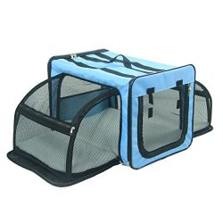 Pet Life Capacious' Dual-Sided Expandable Spacious Wire Folding Collapsible Lightweight Pet Dog Crate Carrier House, X-Large, Light Blue