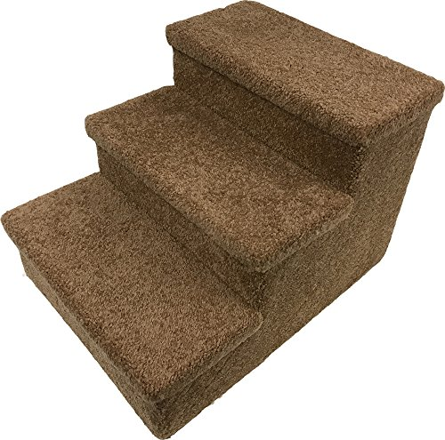Penn Plax 3 Step Carpeted Pet Stairs For Both Cats U0026 Dogs, 12.75u2033