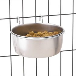 "Pro Select Stainless Steel Hanging Pet Food Bowl to Attach to Cage – 5-2/7"" x 4-2/7"" Size, 3"" in Depth, 8-oz. Capacity"