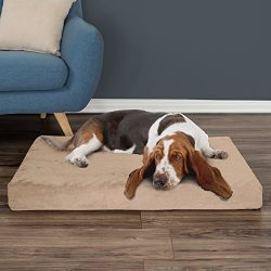PETMAKER Orthopedic Pet Bed – Egg Crate and Memory Foam with Washable Cover 37x24x4 by Tan