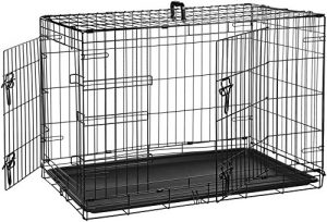 AmazonBasics Double-Door Folding Metal Dog Crate – 36 Inches