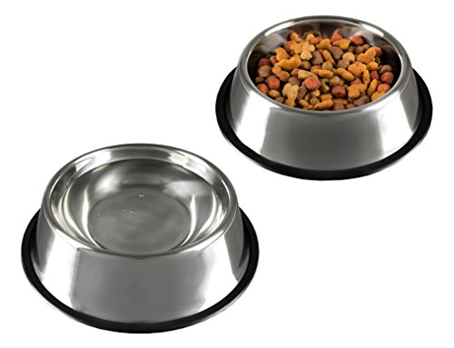 PETMAKER Stainless Steel Pet Bowls with Non Slip Rubber Bottom for Dogs and Cats-Feeder Dish for Food and Water- Set of 2, 16 Oz Each