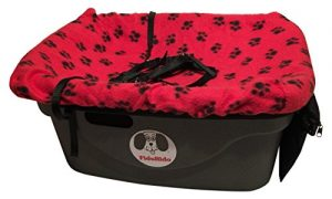 FidoRido Pet Car Seat Including Red with Black Paw Prints Fleece Cover