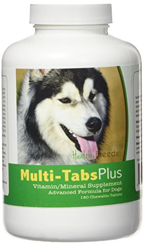 Healthy Breeds Dog Daily Vitamin and Mineral Supplement Chewable Tabs for Siberian Husky – Over 80 Breeds – 180, 365 Chews – Formula for Young or Senior Pets – Easier Than Liquid, Powder