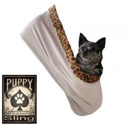 Pet Flys 500-072 TCSMMD Skull with Rose Rhinestone Puppy Holdem Sling Tan with Cheetah Trim, Small/Medium