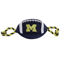 Pets First Collegiate MICHIGAN WOLVERINES Nylon Football Dog Toy with inner SQUEAKER & Pull Ropes PET SPORTS TOY