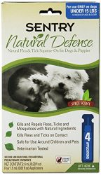 Sentry 4 Count Natural Defense Flea and Tick Squeeze-On for Dogs Under 15-Pound