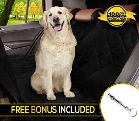 Reusable Dog car Seat Cover for All Cars with Side Flaps & Free Stop Barking Whistle – Durable Non-Slip Comfortable Material for Safe Traveling on the Road | Machine Washable & Easy to Install, Black