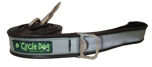 Cycle Dog Bottle Opener Recycled Dog Leash, Silver Max Reflective, 6-Feet