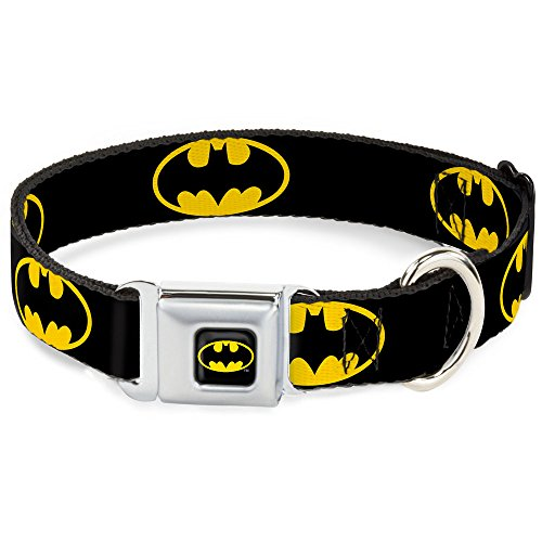 Buckle Down Seatbelt Buckle Dog Collar – Batman Shield Black/Yellow – 1″ Wide – Fits 15-26″ Neck – Large
