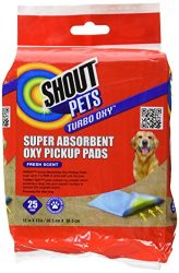 Shout for Pets Turbo Oxy Super Absorbent Oxy Pickup Pads   Best Pet Urine Pick Up Pads For Absorbing Pee Stains, 25 pads, Fresh Scent