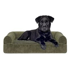 FurHaven Gel Foam Faux Fur & Velvet Dog Couch Sofa Bed for Dogs and Cats, Dark Sage, Small