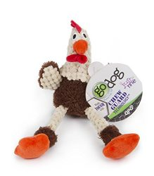 goDog 70671 Just For Me Skinny Brown Rooster Plush Squeaker Dog Toy, Small