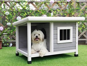 Petsfit Outdoor Wooden Dog House for Small Dogs