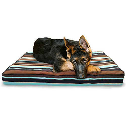 FurHaven Deluxe Orthopedic Indoor/Outdoor Pet Bed Mattress for Dogs and Cats, Espresso Stripe, Large