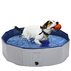 PUPTECK Foldable Dog Swimming Pool – Outdoor Portable Pet Bathing Tub Small