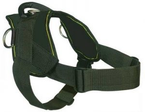 Dean and Tyler DT Dog Harness, Black With Yellow Trim, Large – Fits Girth Size: 32-Inch to 42-Inch