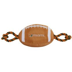 Pets First Collegiate MIAMI HURRICANES Nylon Football Dog Toy with inner SQUEAKER & Pull Ropes PET SPORTS TOY
