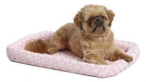 MidWest Deluxe Bolster Pet Bed for Dogs & Cats; Pet Bed Measures 24L x 18W x 2.25H Inches & Fits Standard 24″L Wire Dog Crate, Pink