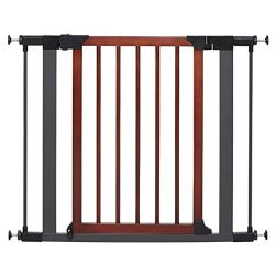 MidWest Homes for Pets Steel Pet Gate w/Textured Graphite Frame & Decorative Wood Door, 29H x 28-38W Inches