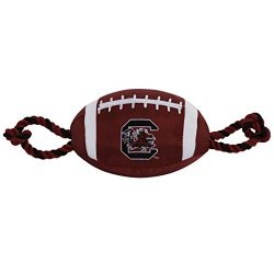 Pets First Collegiate SOUTH CAROLINA GAMECOCKS Nylon Football Dog Toy with inner SQUEAKER & Pull Ropes PET SPORTS TOY