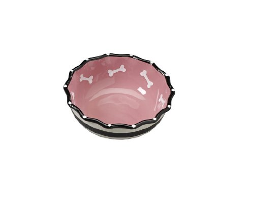 Ethical Products Glossy Stoneware pet dish – 7-Inch, Pink – Hygienic and easy to clean – Contemporary Ruffle Dish for Dogs