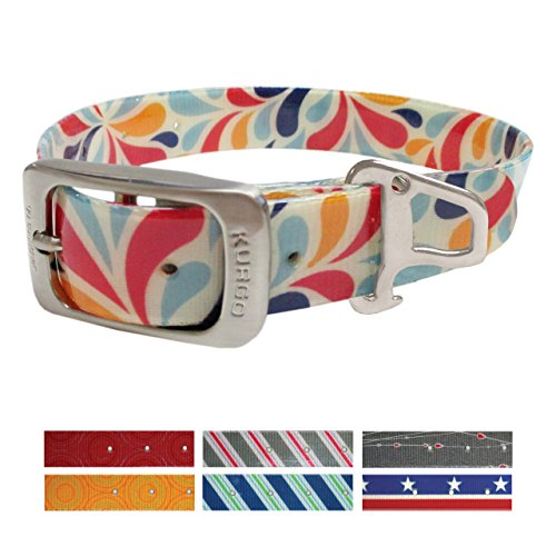 Kurgo Muck Collar Color Splash Collar Waterproof Dog Collar, Large