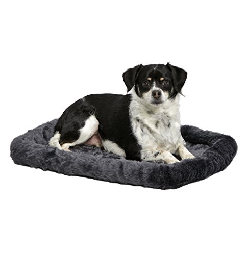 MidWest Deluxe Bolster Pet Bed for Dogs & Cats; Pet Bed Measures 24L x 18W x 2.25H Inches & Fits Standard 24″ L Wire Dog Crate, Gray