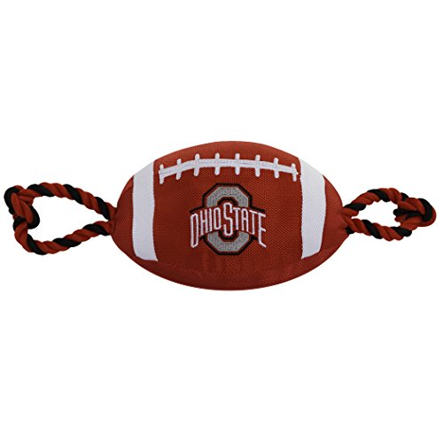 Pets First Collegiate OHIO STATE BUCKEYES Nylon Football Dog Toy with inner SQUEAKER & Pull Ropes PET SPORTS TOY