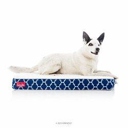 Brindle Orthopedic Memory Foam Pet Bed, Navy Trellis, Medium 34 x 22