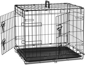AmazonBasics Double-Door Folding Metal Dog Crate – 24 Inches