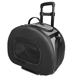 Pet Life Final Destination' Airline Approved 2-in-1 Tough-Shell Wheeled Collapsible Travel Fashion Pet Dog Carrier Crate, One Size, Black