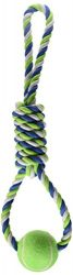 Dogit Striped Cotton Spiral Tug with Tennis Ball, 18-Inch