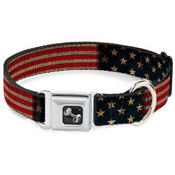 Buckle Down Seatbelt Buckle Dog Collar – Vintage US Flag Stretch – 1″ Wide – Fits 15-26″ Neck – Large