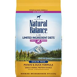 Natural Balance Small Breed Bites L.I.D. Limited Ingredient Diets Dry Dog Food, Grain Free, Potato & Duck Formula, 4.5-Pound