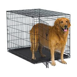 New World 42″ Folding Metal Dog Crate, Includes Leak-Proof Plastic Tray; Dog Crate Measures 42L x 30W x 28H Inches, Fits Large Dog Breeds