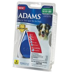 Adams Flea and Tick Spot On for Dogs, Medium Dogs 32-55 Pounds, 3 Month Supply, With Applicator