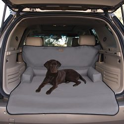 K&H Pet Products Bolster Cargo Cover Gray – Protects Cargo Area of Your Vehicle from Pet Hair, Dirt, Scratches and More – Bolster Pillows for Comfort