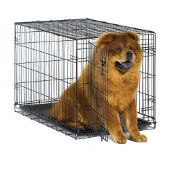 New World 36″ Folding Metal Dog Crate, Includes Leak-Proof Plastic Tray; Dog Crate Measures 36L x 23W x 25H Inches, Fits Intermediate Dog Breeds