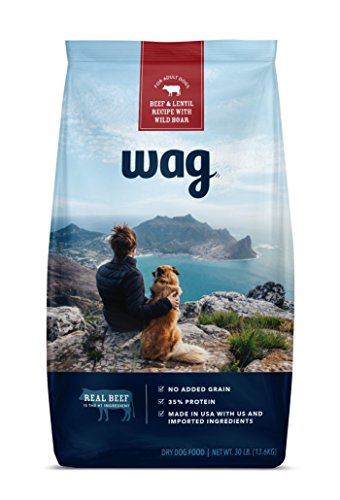 WAG Amazon Brand Dry Dog Food, No Added Grain, Beef & Lentil Recipe with Wild Boar, 30 lb. Bag