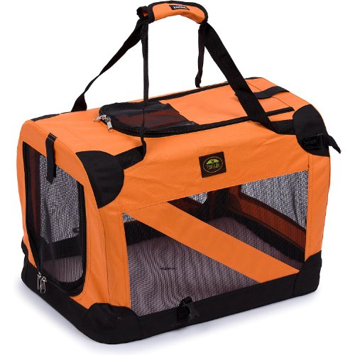 Pet Life 360° Vista View' Zippered Soft Folding Collapsible Durable Metal Framed Pet Dog Crate House Carrier, Medium, Orange