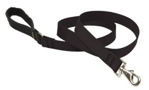 LupinePet Basics 1″ Black 6-foot Padded Handle Leash for Medium and Larger Dogs
