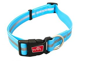 WIGZI Reflective, Waterproof, Stink Free, Adjustable and Durable Collar For Dogs – 2 Year Warranty- Neon Blue, Large Size