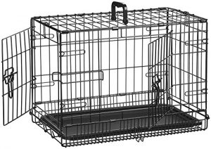 AmazonBasics Double-Door Folding Metal Dog Crate – 22 Inches