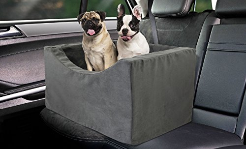 Precious Tails DMW21BCGRY Double Companion Pet Booster Car Seat High Density Foam with 2 Safety Straps, Gray