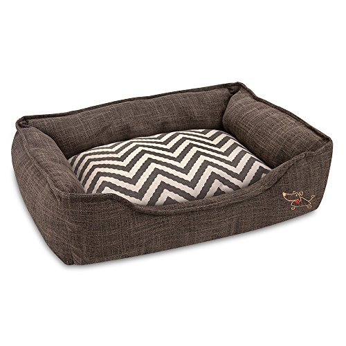 Best Pet Supplies – Breathable Linen Pet Bed for Summer with Comfortable Padding | Square Medium Cozy Cuddler for Dogs and Cats (24″ x 19″ x 7″) Brown